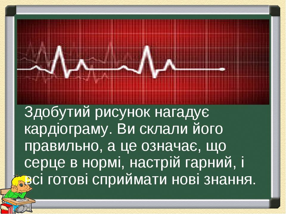 Здобутий рисунок нагадує кардіограму. Ви склали його правильно, а це означає, що серце в нормі, настрій гарний, і всі готові сприймати нові знання.