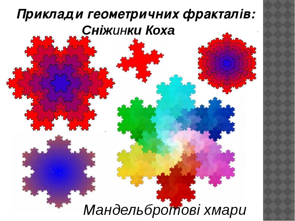 Мандельбротові хмари Сніжинки Коха Приклади геометричних фракталів: