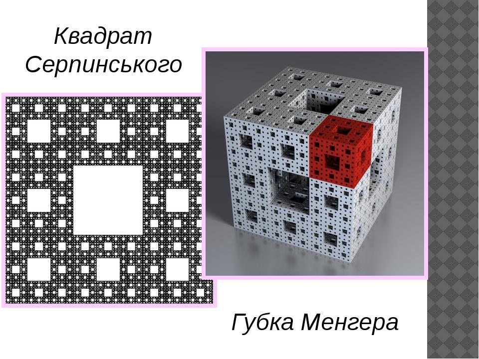 Квадрат Серпинського Губка Менгера