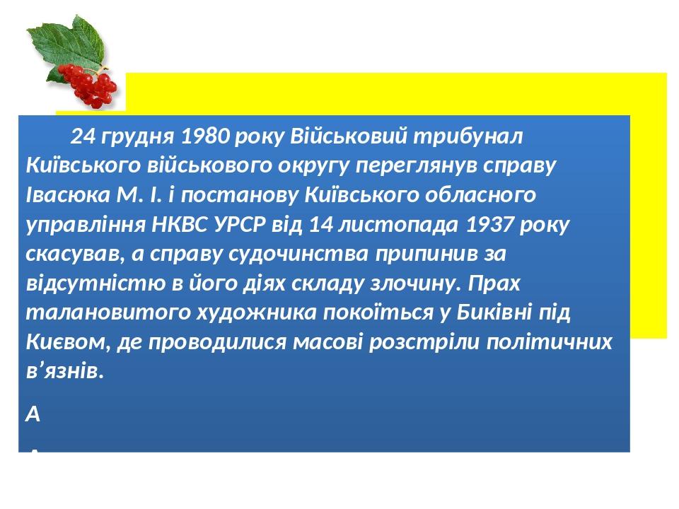 24 грудня 1980 року Військовий трибунал Київського військового округу переглянув справу Івасюка М. І. і постанову Київського обласного управління Н...