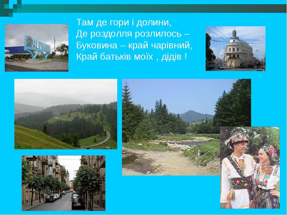 Там де гори і долини, Де роздолля розлилось – Буковина – край чарівний, Край батьків моїх , дідів !