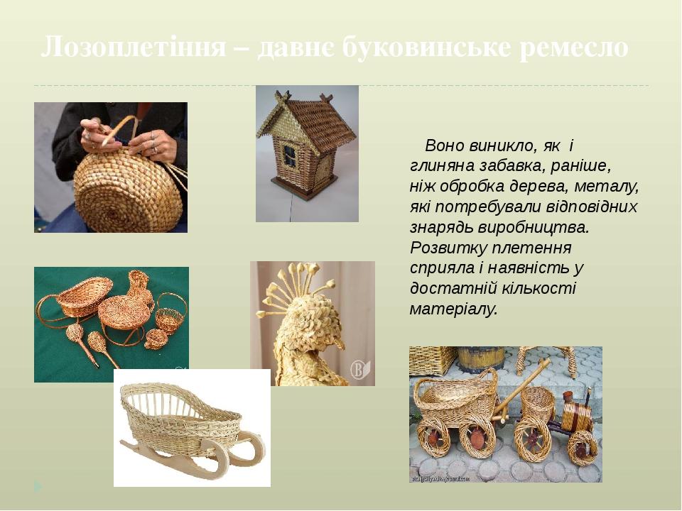 Лозоплетіння – давнє буковинське ремесло Воно виникло, як і глиняна забавка, раніше, ніж обробка дерева, металу, які потребували відповідних знаряд...