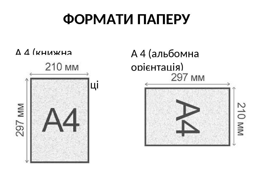 ФОРМАТИ ПАПЕРУ А 4 (книжна орієнтація) Книжна орієнтаці А 4 (альбомна орієнтація)