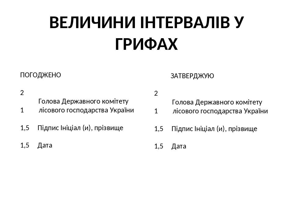 ВЕЛИЧИНИ ІНТЕРВАЛІВ У ГРИФАХ ЗАТВЕРДЖУЮ 2 Голова Державного комітету 1 лісового господарства України 1,5 Підпис Ініціал (и), прізвище 1,5 Дата ПОГО...
