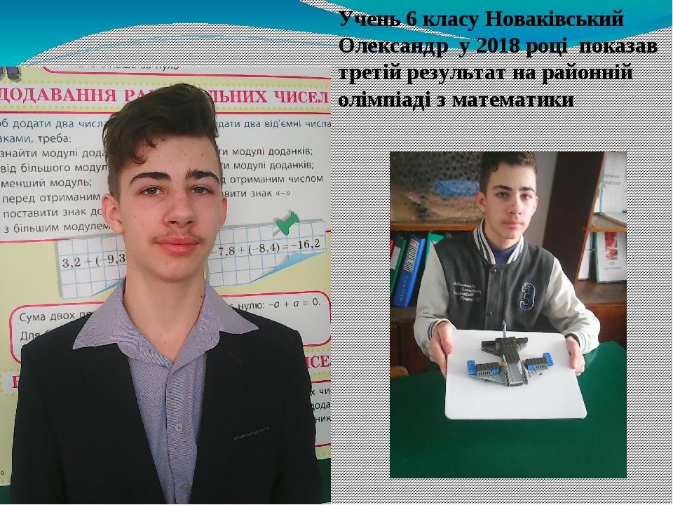 Учень 6 класу Новаківський Олександр у 2018 році показав третій результат на районній олімпіаді з математики