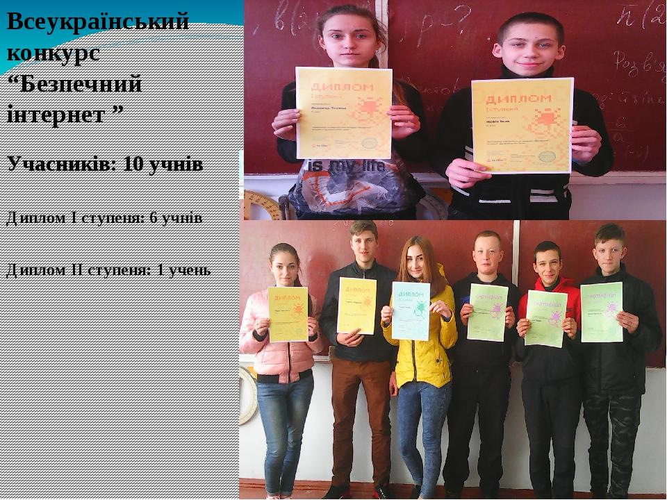 """Всеукраїнський конкурс """"Безпечний інтернет """" Учасників: 10 учнів Диплом І ступеня: 6 учнів Диплом ІІ ступеня: 1 учень"""
