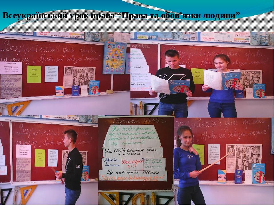 """Всеукраїнський урок права """"Права та обов'язки людини"""""""