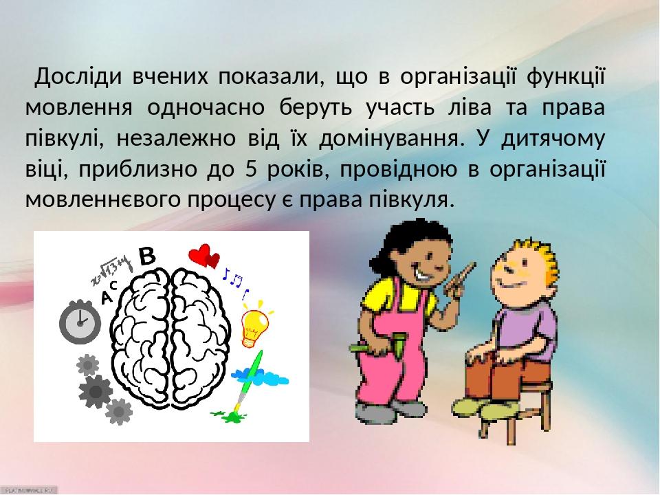 Досліди вчених показали, що в організації функції мовлення одночасно беруть участь ліва та права півкулі, незалежно від їх домінування. У дитячому ...