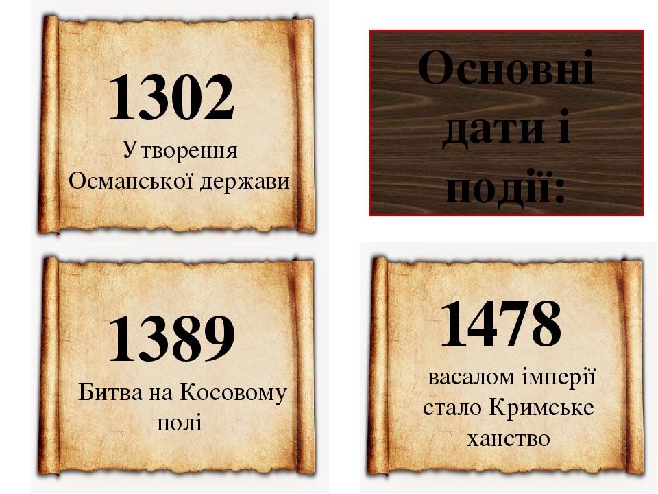 Основні дати і події: 1302 Утворення Османської держави 1478 васалом імперії сталоКримське ханство 1389 Битва на Косовому полі