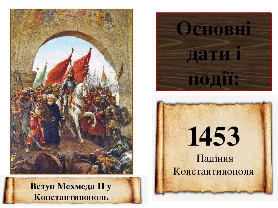 Основні дати і події: 1453 Падіння Константинополя Вступ Мехмеда II у Константинополь