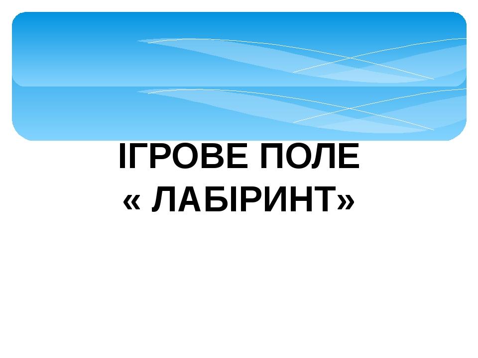 ІГРОВЕ ПОЛЕ « ЛАБІРИНТ»