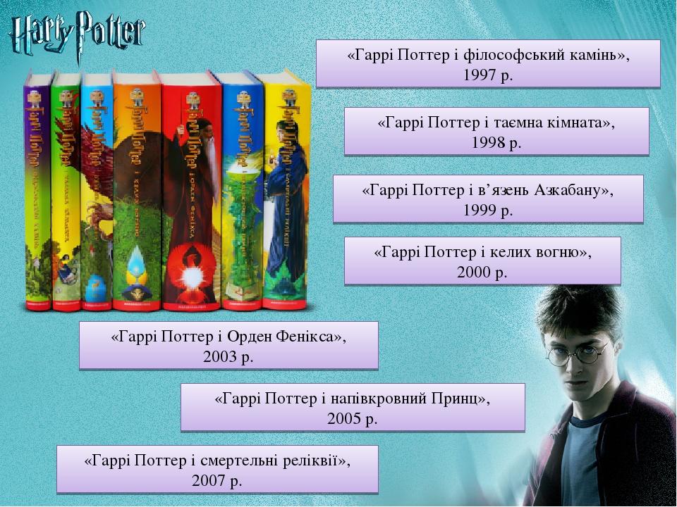 «Гаррі Поттер і філософський камінь», 1997 р. «Гаррі Поттер і таємна кімната», 1998 р. «Гаррі Поттер і в'язень Азкабану», 1999 р. «Гаррі Поттер і к...