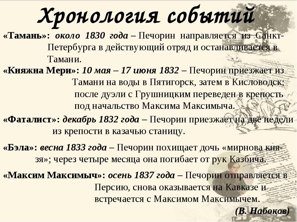 Хронология событий «Тамань»: около 1830 года – Печорин направляется из Санкт- Петербурга в действующий отряд и останавливается в Тамани. «Княжна Ме...