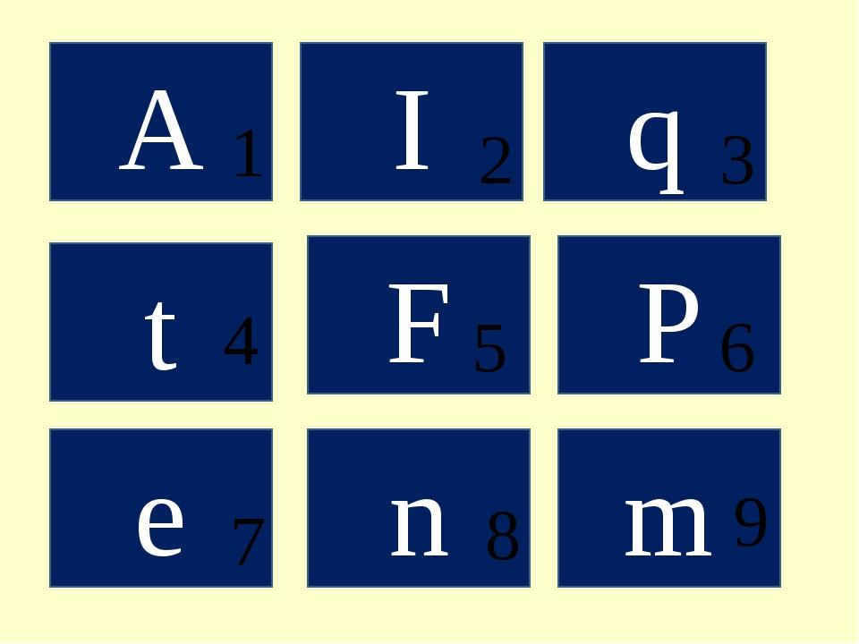 A I q t F Р m n е 1 4 5 2 3 6 9 7 8