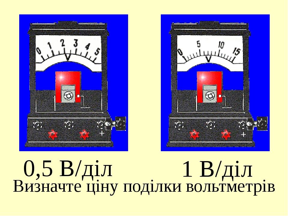 0,5 В/діл 1 В/діл Визначте ціну поділки вольтметрів