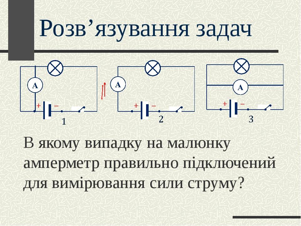 В якому випадку на малюнку амперметр правильно підключений для вимірювання сили струму? Розв'язування задач