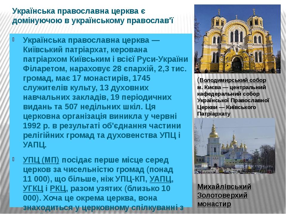 Українська православна церква є домінуючою в українському православ'ї Українська православна церква — Київський патріархат, керована патріархом Киї...