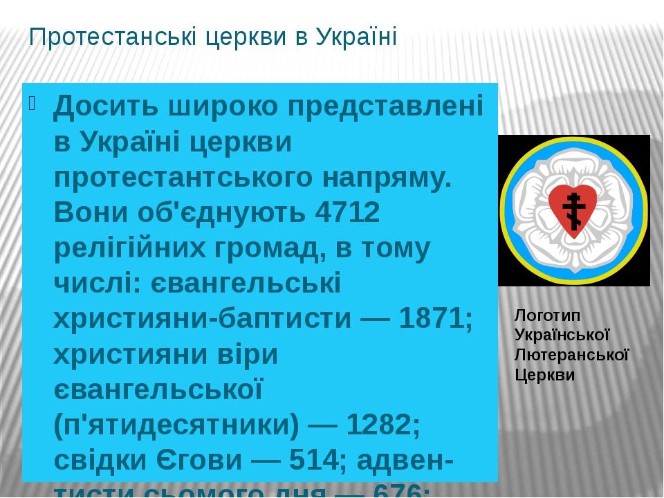 Протестанські церкви в Україні Досить широко представлені в Україні церкви протестантського напряму. Вони об'єднують 4712 релігійних громад, в тому...