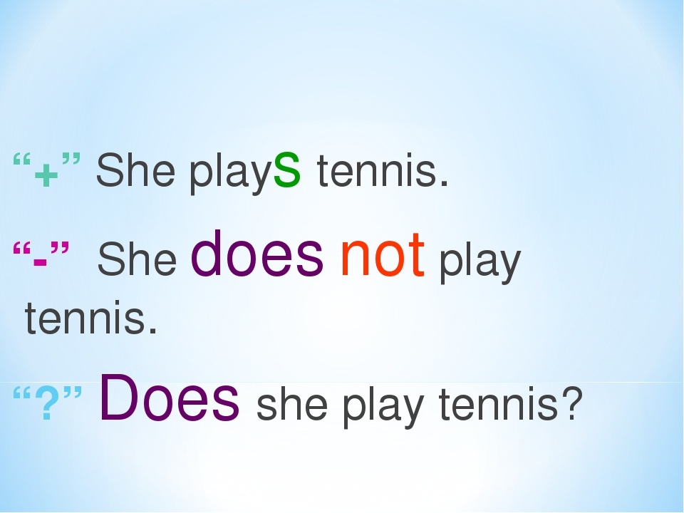 """""""+"""" She plays tennis. """"-"""" She does not play tennis. """"?"""" Does she play tennis?"""