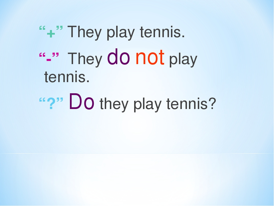 """""""+"""" They play tennis. """"-"""" They do not play tennis. """"?"""" Do they play tennis?"""