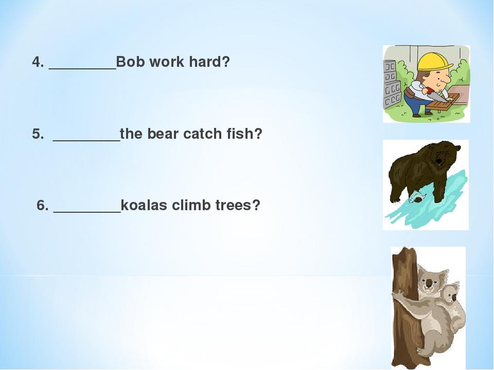 4. ________Bob work hard?  5. ________the bear catch fish?  6. ________koalas climb trees?