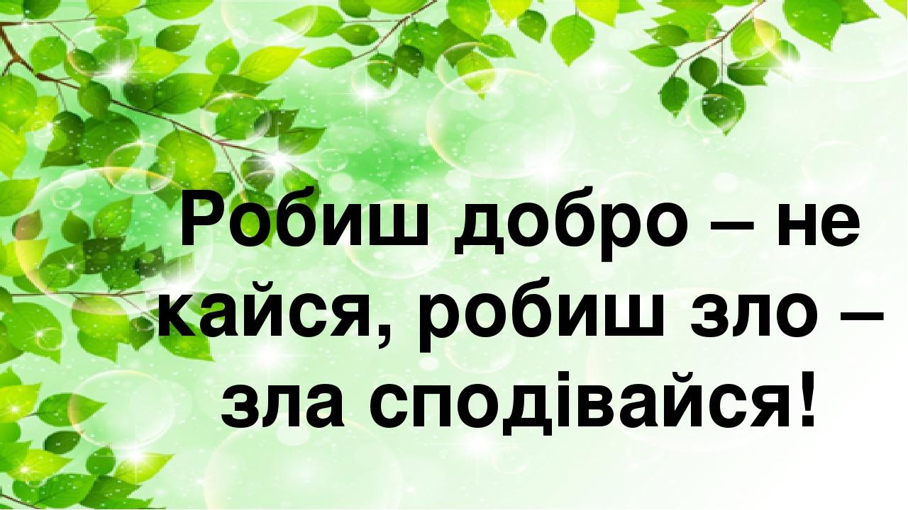 Робиш добро – не кайся, робиш зло – зла сподівайся!