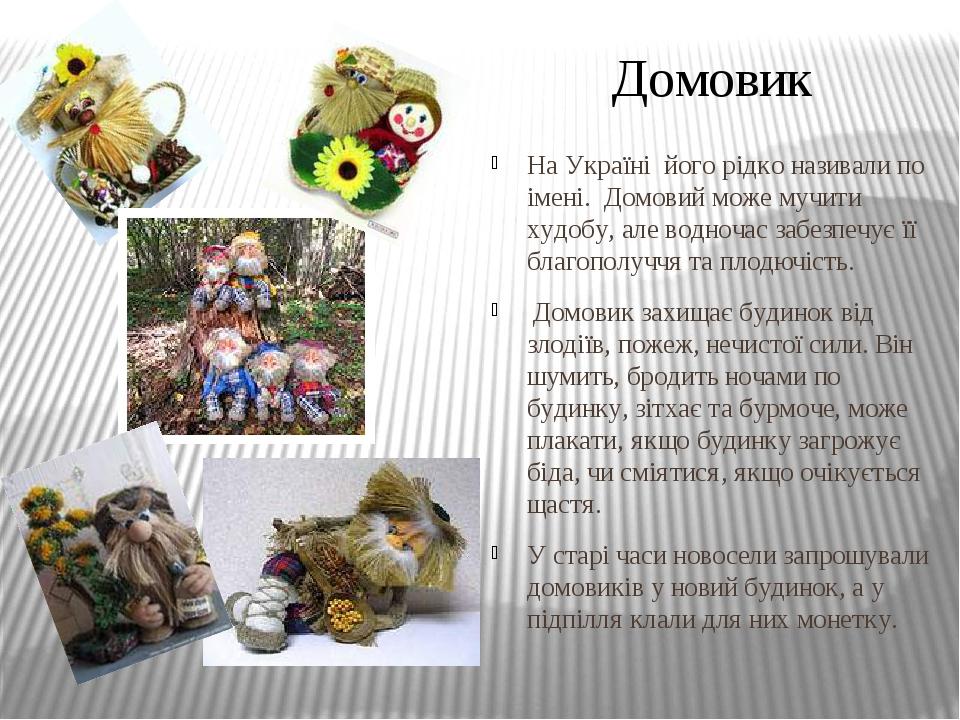 На Україні його рідко називали по імені. Домовий може мучити худобу, але водночас забезпечує її благополуччя та плодючість. Домовик захищає будинок...