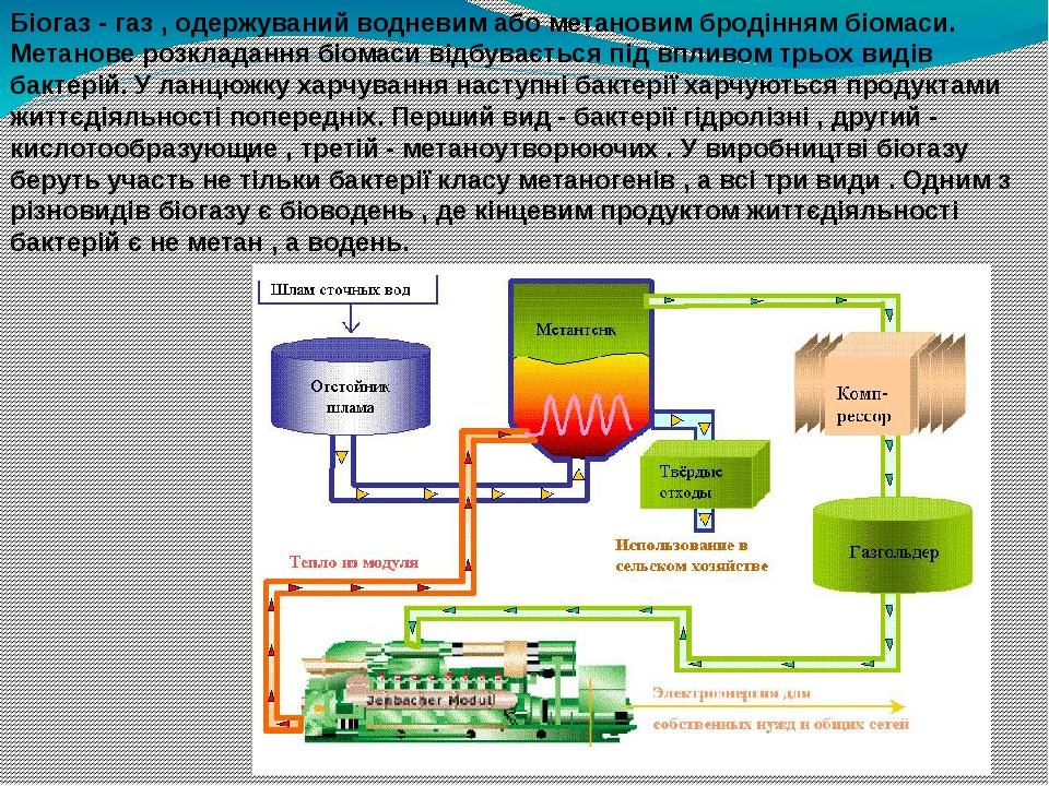 Біогаз - газ , одержуваний водневим або метановим бродінням біомаси. Метанове розкладання біомаси відбувається під впливом трьох видів бактерій. У ...