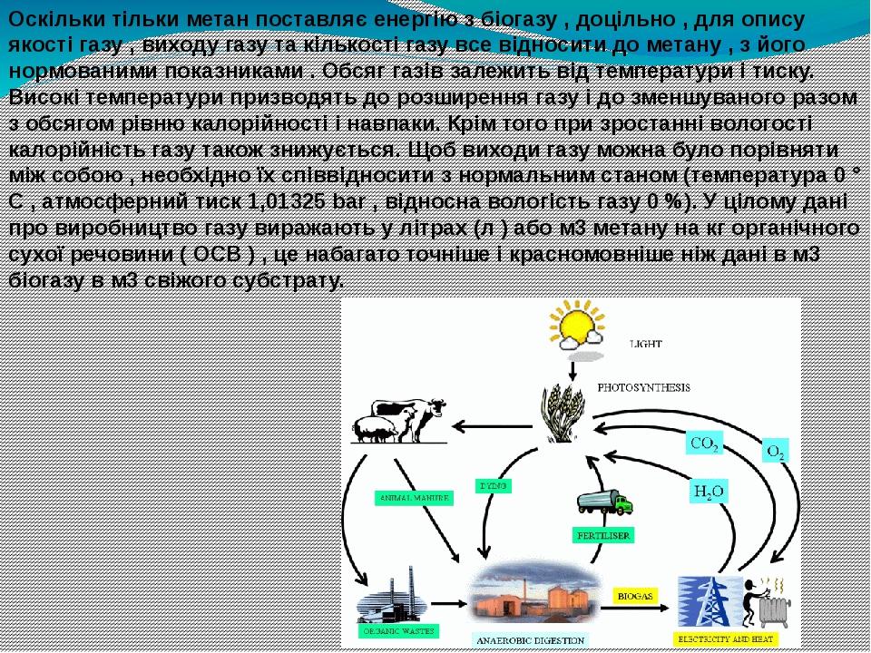 Оскільки тільки метан поставляє енергію з біогазу , доцільно , для опису якості газу , виходу газу та кількості газу все відносити до метану , з йо...