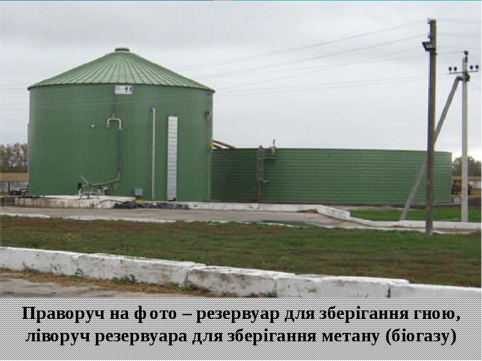 Праворуч на фото – резервуар для зберігання гною, ліворуч резервуара для зберігання метану (біогазу)