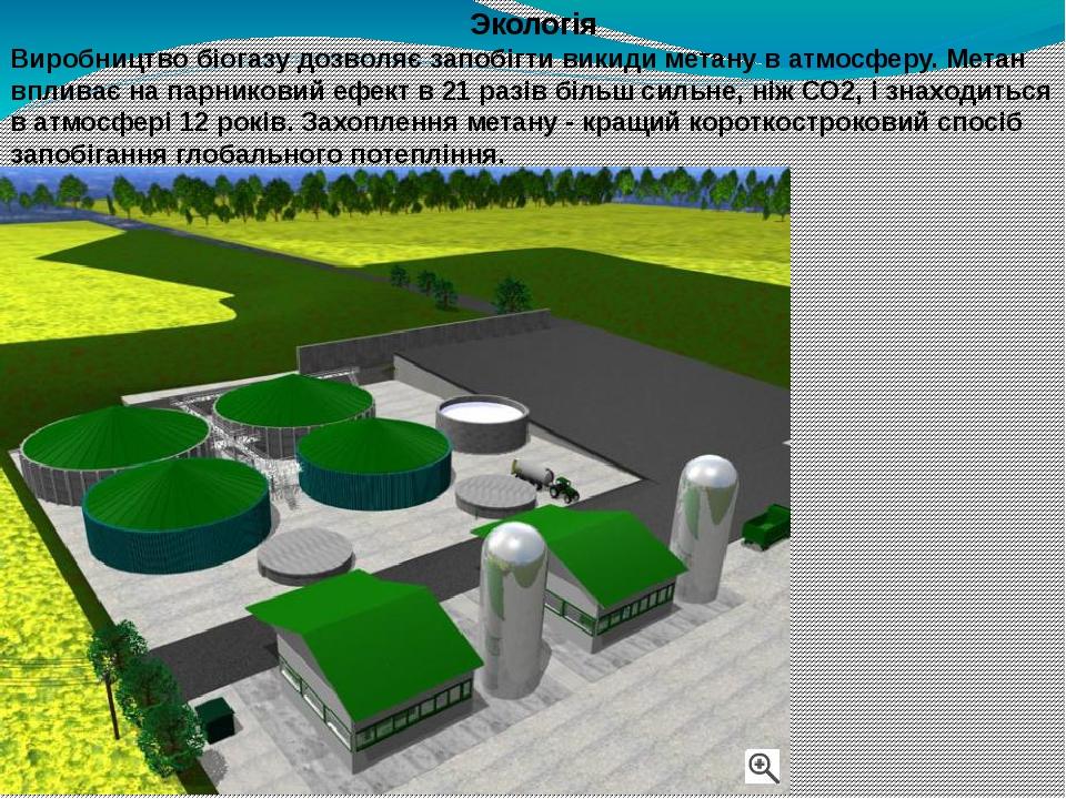 Экологія Виробництво біогазу дозволяє запобігти викиди метану в атмосферу. Метан впливає на парниковий ефект в 21 разів більш сильне, ніж СО2, і зн...