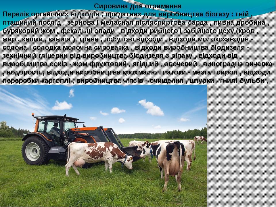 Сировина для отримання Перелік органічних відходів , придатних для виробництва біогазу : гній , пташиний послід , зернова і меласная післяспиртова ...