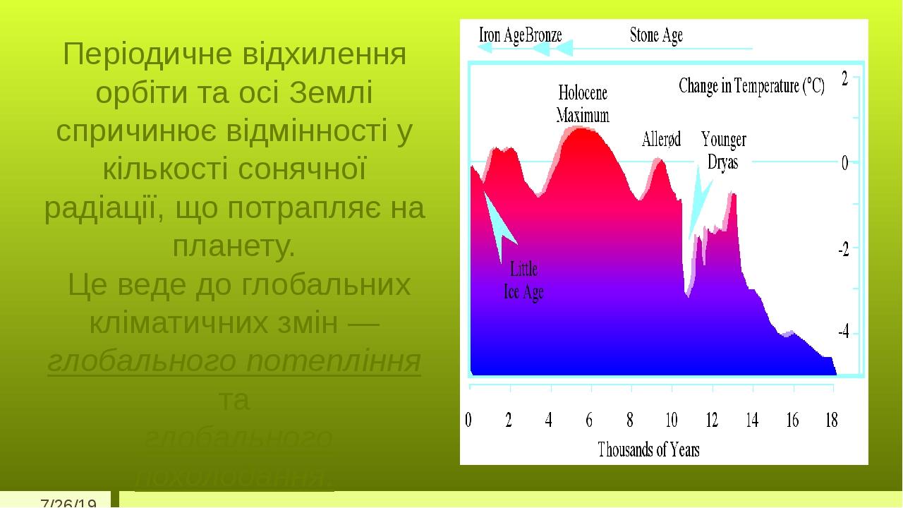 Періодичне відхилення орбіти та осі Землі спричинює відмінності у кількості сонячної радіації, що потрапляє на планету. Це веде до глобальних кліма...