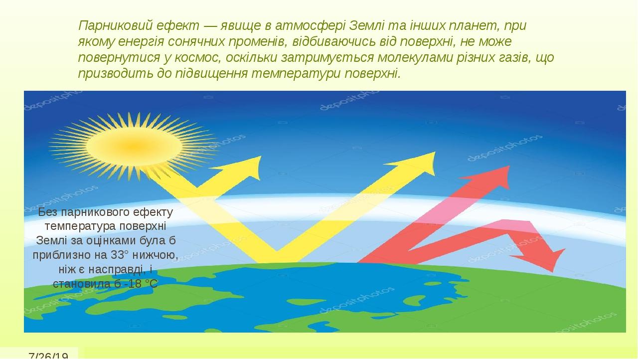 Парниковий ефект — явище в атмосфері Землі та інших планет, при якому енергія сонячних променів, відбиваючись від поверхні, не може повернутися у к...