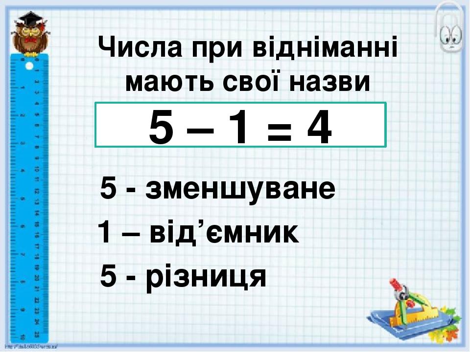 Числа при відніманні мають свої назви 5 – 1 = 4 5 - зменшуване 1 – від'ємник 5 - різниця