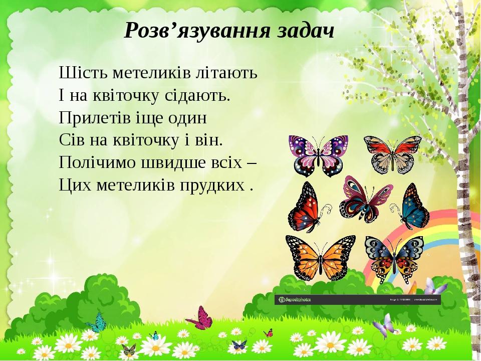 Розв'язування задач Шість метеликів літають І на квіточку сідають. Прилетів іще один Сів на квіточку і він. Полічимо швидше всіх – Цих метеликів пр...