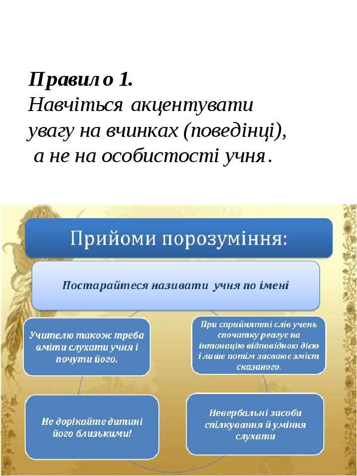 Правило 1. Навчіться акцентувати увагу на вчинках (поведінці), а не на особистості учня.