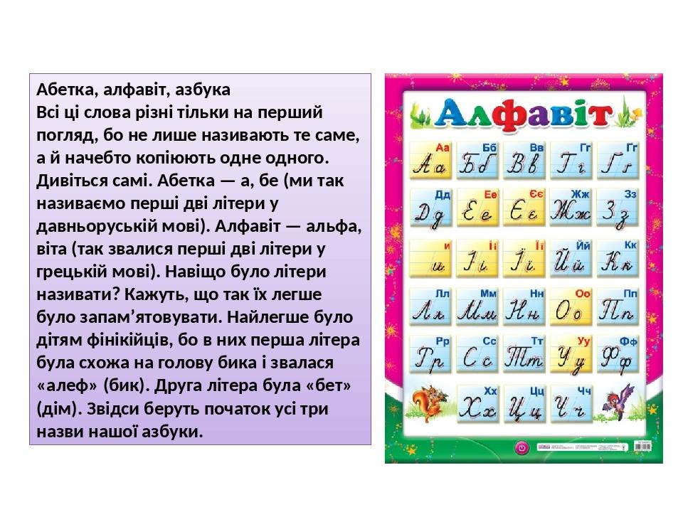 Абетка, алфавіт, азбука Всі ці слова різні тільки на перший погляд, бо не лише називають те саме, а й начебто копіюють одне одного. Дивіться самі. ...