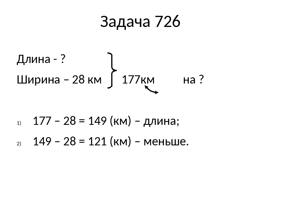 Задача 726 Длина - ? Ширина – 28 км 177км на ? 177 – 28 = 149 (км) – длина; 149 – 28 = 121 (км) – меньше.