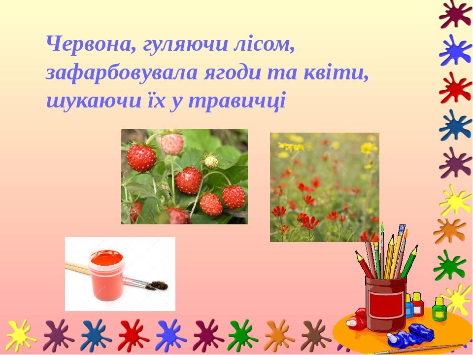 Червона, гуляючи лісом, зафарбовувала ягоди та квіти, шукаючи їх у травичці