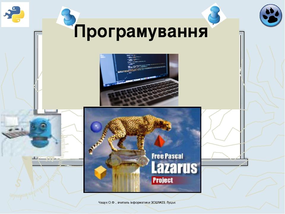 Програмування Чашук О.Ф., вчитель інформатики ЗОШ№23, Луцьк