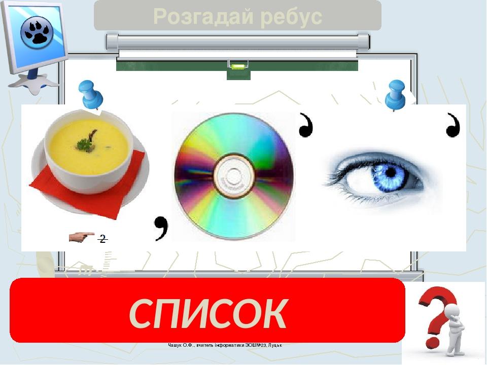 Чашук О.Ф., вчитель інформатики ЗОШ№23, Луцьк Розгадай ребус СПИСОК