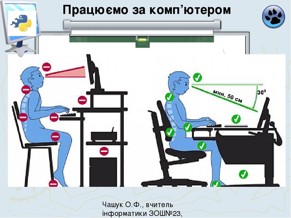 Працюємо за комп'ютером Чашук О.Ф., вчитель інформатики ЗОШ№23, Луцьк