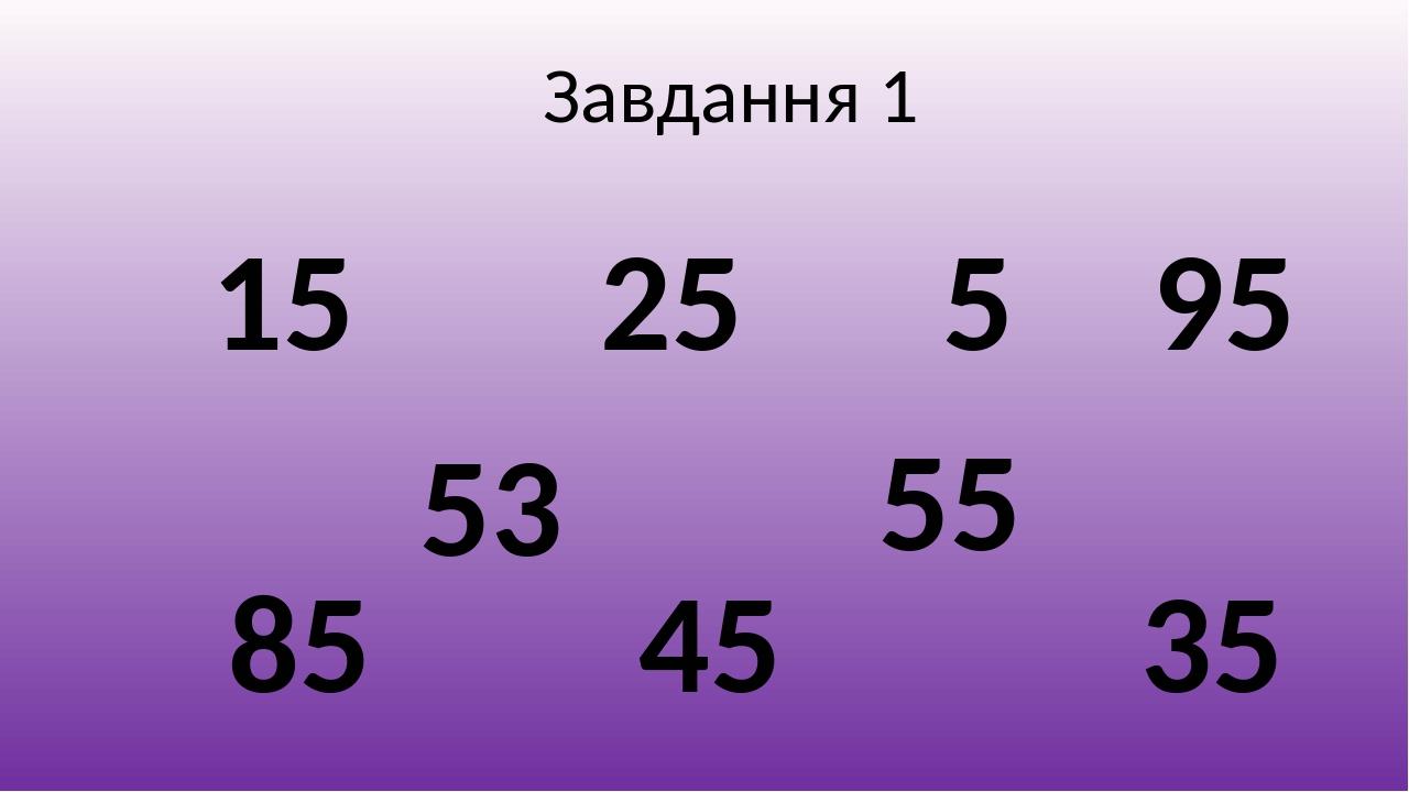 Завдання 1 5 15 55 25 35 53 95 85 45