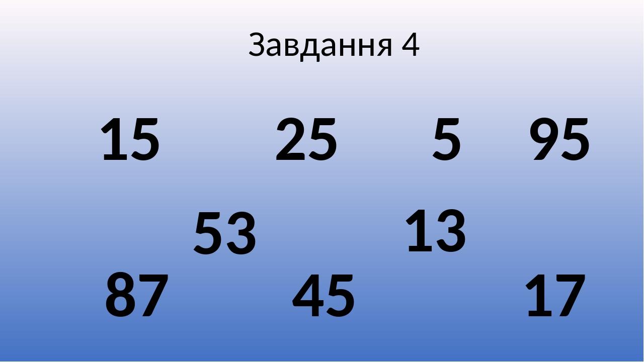 Завдання 4 5 15 13 25 17 53 95 87 45