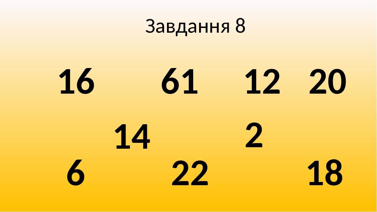 Завдання 8 12 16 2 61 18 14 20 6 22