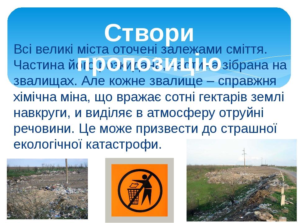 Всі великі міста оточені залежами сміття. Частина його розкидана, частина зібрана на звалищах. Але кожне звалище – справжня хімічна міна, що вражає...