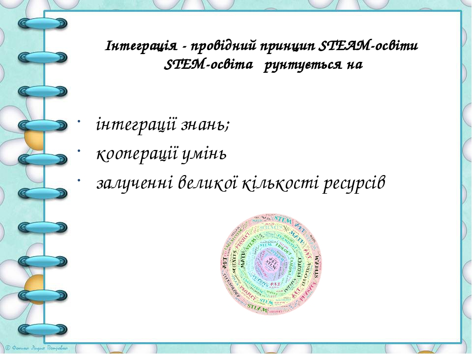 Інтеграція - провідний принцип STEAM-освіти STEM-освіта ґрунтується на інтеграції знань; кооперації умінь залученні великої кількості ресурсів
