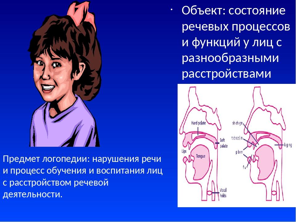 Объект: состояние речевых процессов и функций у лиц с разнообразными расстройствами речевой деятельности. Предмет логопедии: нарушения речи и проце...