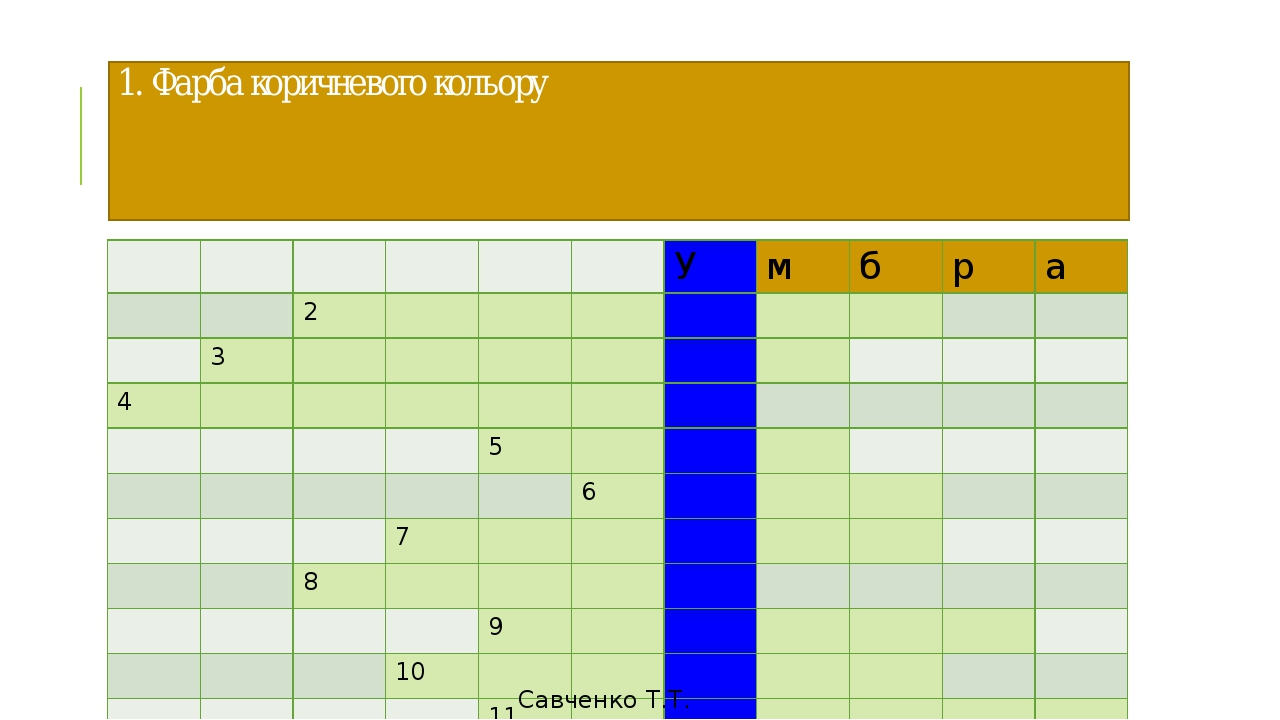 1. Фарба коричневого кольору Савченко Т.Т. У м б р а 2 3 4 5 6 7 8 9 10 11